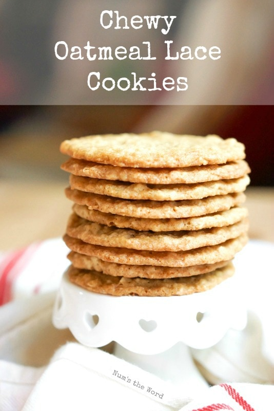 Chewy Oatmeal Lace Cookies - single image, main image for the recipe post
