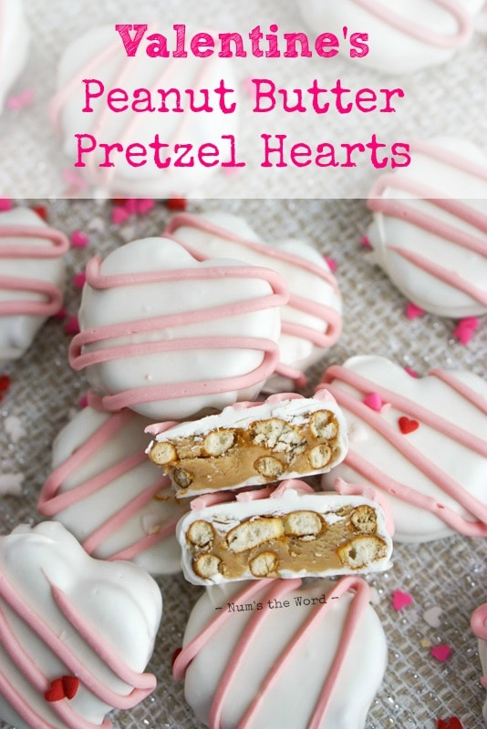 Peanut Butter Pretzel Hearts - Main image for recipe of hearts on table in a pile with one cut open to show peanut butter filling.