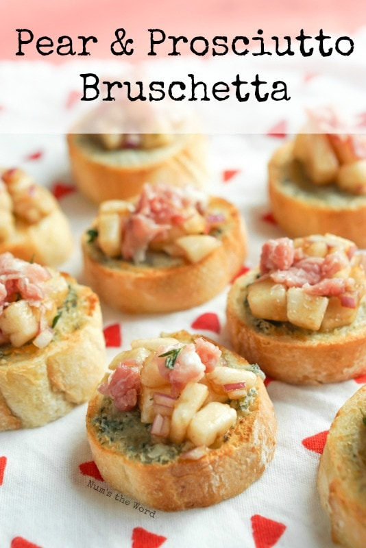 Pear & Proscuitto Bruschetta - Main image for recipe. Several Bruschetta's lined up to be served