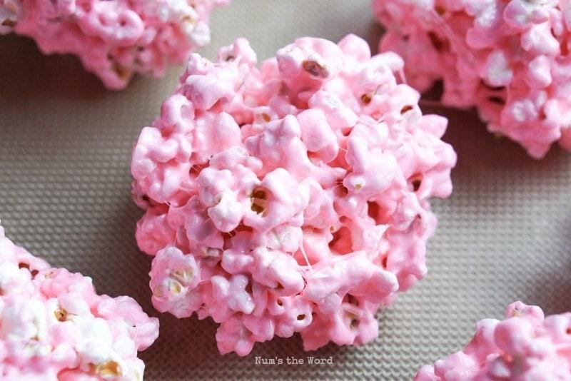 Peeps Popcorn Balls - close up of a single popcorn ball
