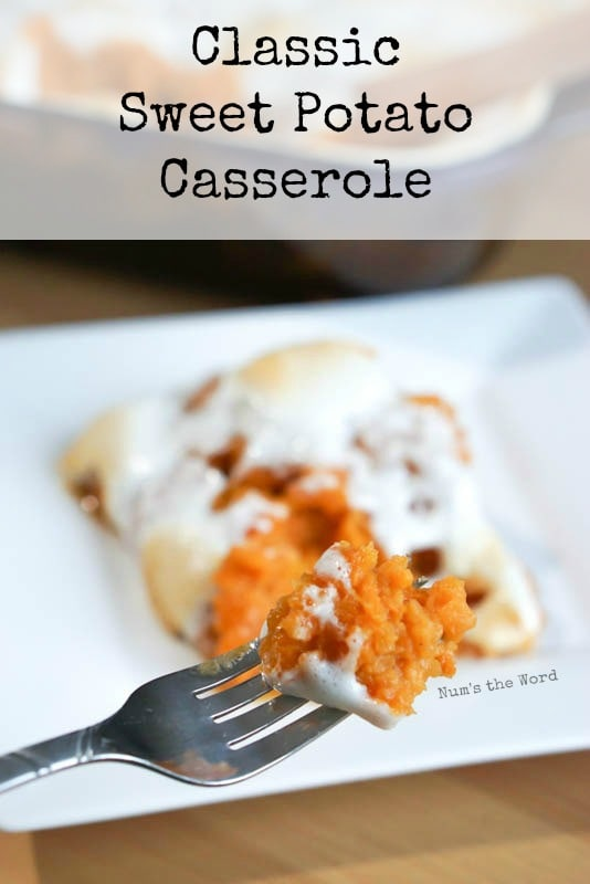 Classic Sweet Potato Casserole - main image for recipe - casserole on a dish with a fork full.
