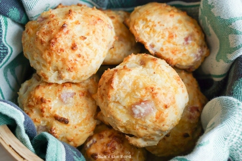 Ham & Cheese Biscuits - Close up photo of biscuits in basket