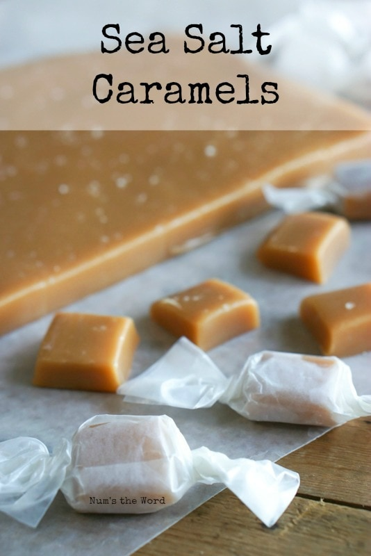 Sea Salt Caramels - Main image for recipe. There are some wrapped caramels, some unwrapped caramels and a slab uncut.
