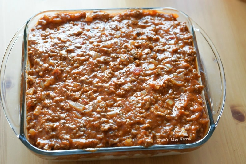 Spaghetti Casserole - Ground Beef mixture placed on top of cottage cheese
