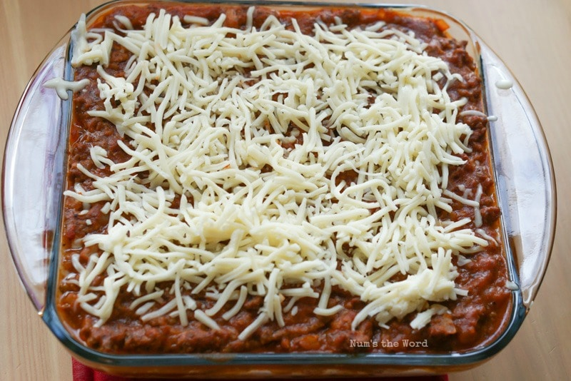 Spaghetti Casserole - Cheese placed on top of ground beef mixture.