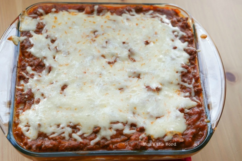 Spaghetti Casserole - Fresh out of the oven with melted cheese.