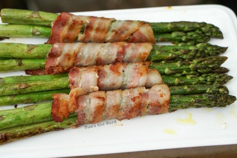 Bacon Wrapped Asparagus - grilled, crispy and on it's side