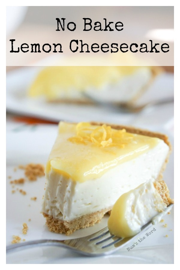 No Bake Lemon Cheesecake - Main image for recipe of slice of cake on plate with a fork ful