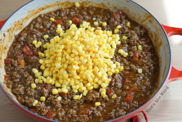 Mexican Sloppy Joes - corn is added to sloppy joe mixture.