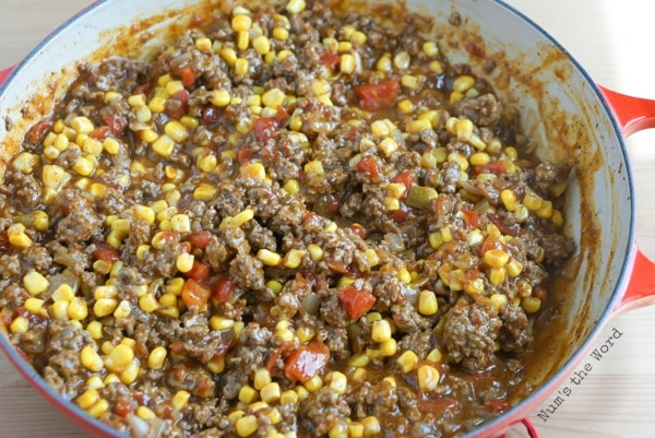 Mexican Sloppy Joes - sloppy joes mixture in pan ready to be eaten.