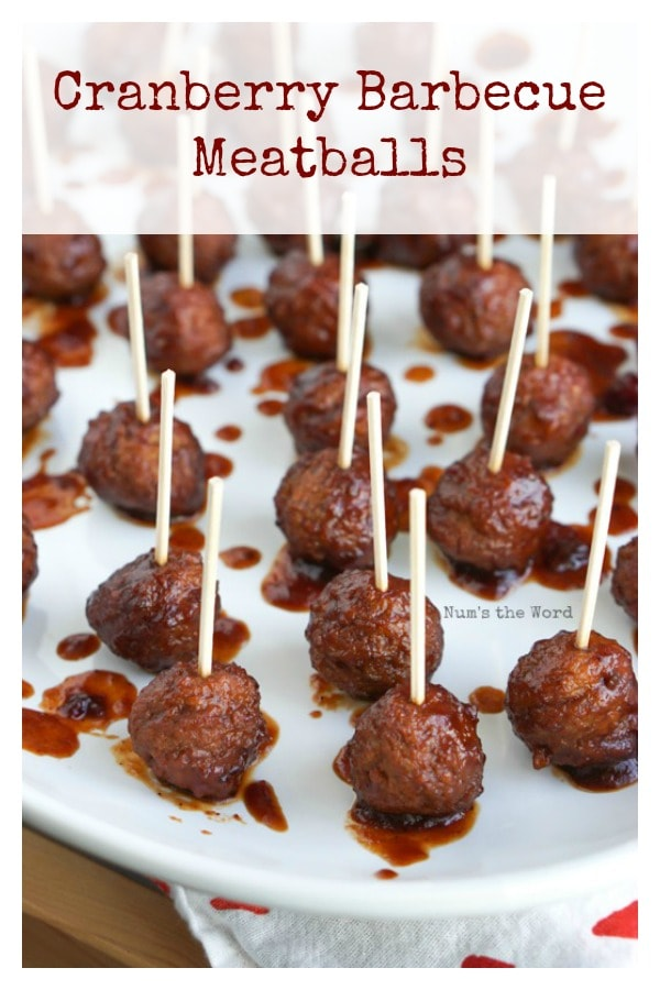 Cranberry Barbecue Meatballs - Main image for recipe of meatballs on platter with toothpicks in them.