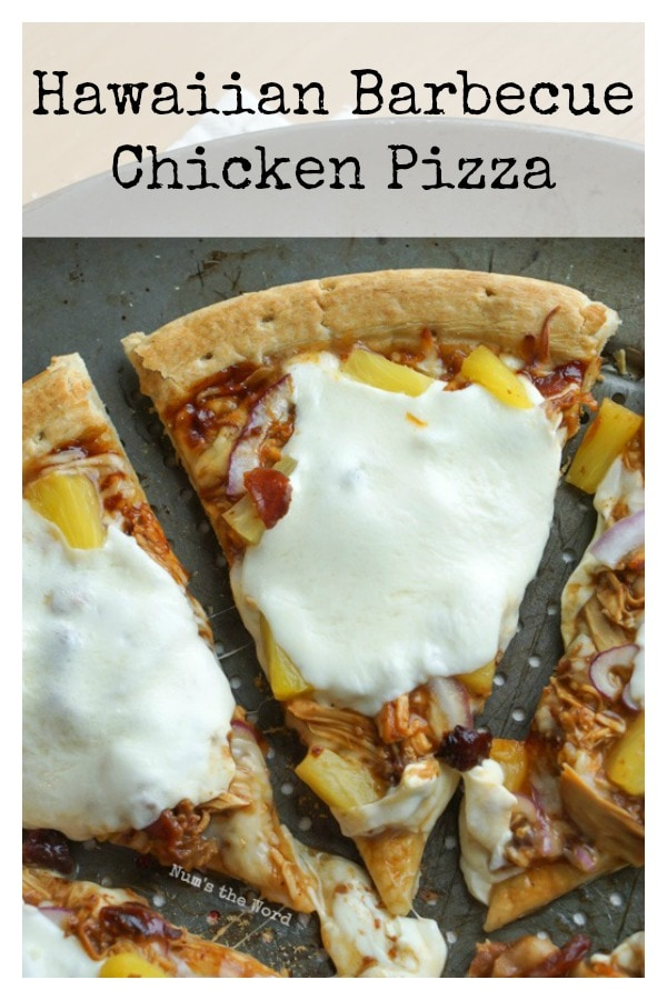 Hawaiian Barbecue Chicken Pizza - main image for recipe of pizza on pan. Photo taken from above.