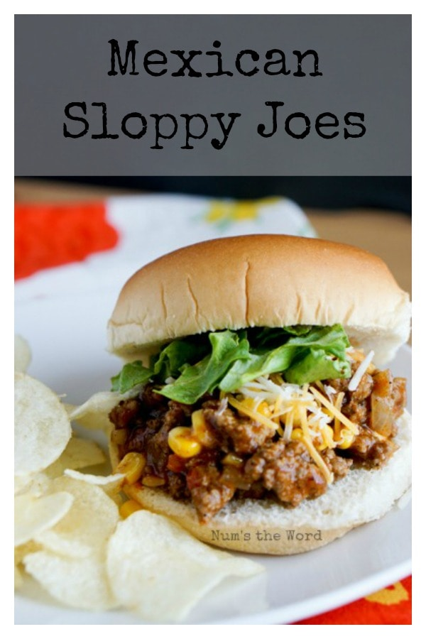 Mexican Sloppy Joes - Main image for recipe of sloppy joes, on bun with cheese and lettuce