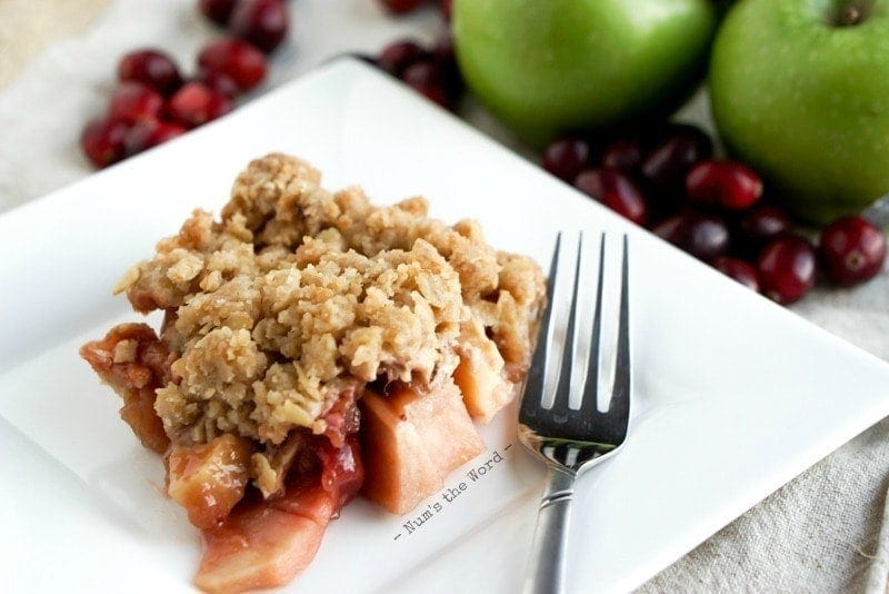 Cranberry Apple Crisp - cooked crisp on plate close up.