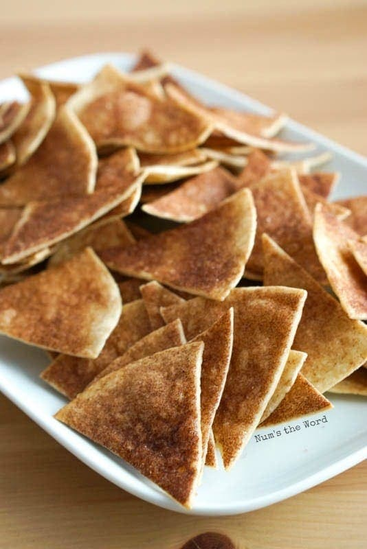 Cinnamon Tortilla Chips - long image of chips on a platter