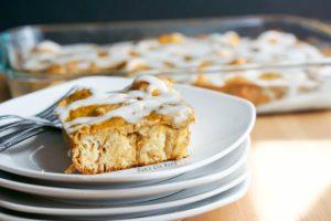 Pumpkin Pie Breakfast Casserole - side view of casserole on a plate.