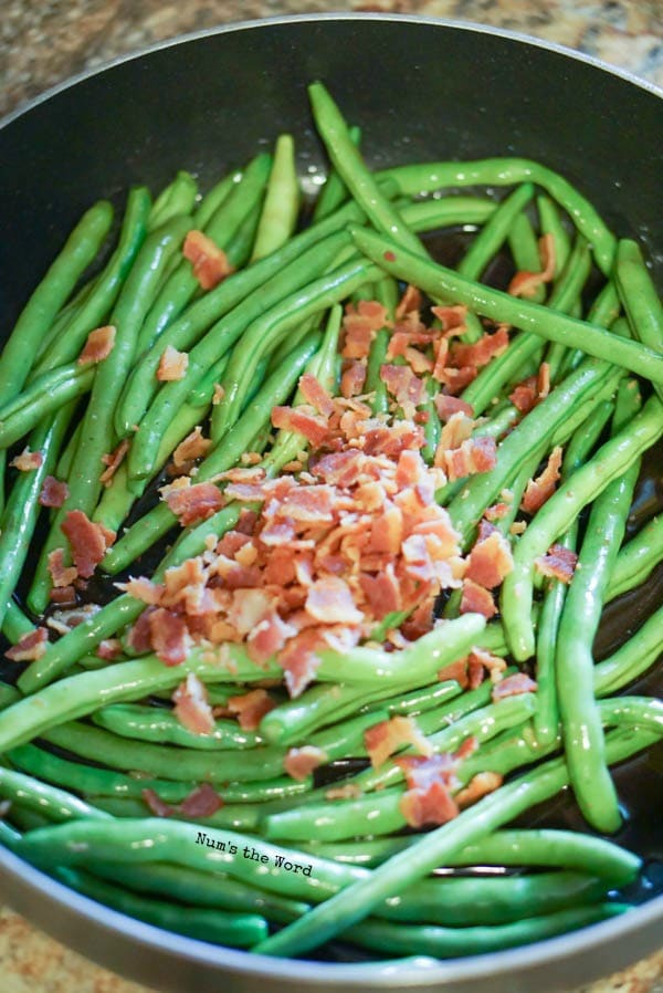 Brown Sugar & Bacon Green Beans - bacon added to green beans