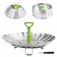 """Stainless Steel Vegetable Steamer Basket Folding Steamer Insert for Veggie Fish Seafood Cooking, Expandable to Fit Various Size Pot (5.1"""" to 9"""")"""