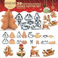 MOJA® 3D CHRISTMAS Scenario Cookie Cutter Set (Stainless Steel), Snowman, Christmas Tree, Deer And Sled