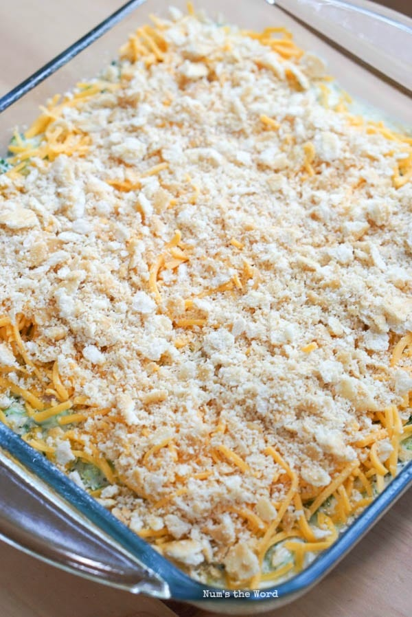 Cheesy Broccoli Casserole - extra cheese and crushed ritz crackers on top of casserole