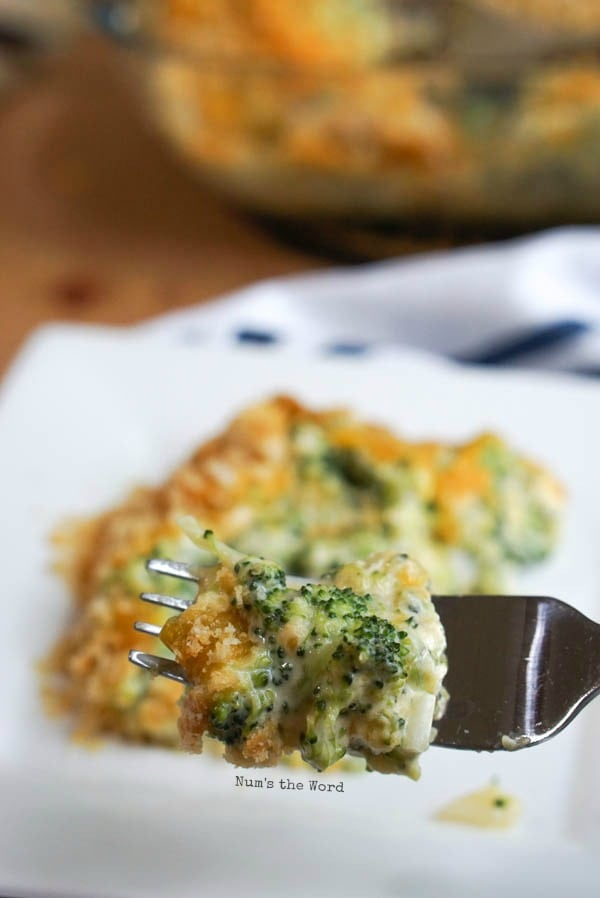 Cheesy Broccoli Casserole - a scoop of casserole on plate with a fork full showing off details of the cheesy goodness.