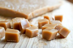 Maple Caramels - sliced caramels on cutting board ready to be eaten!