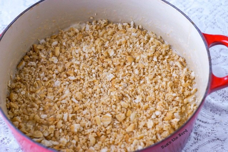 Baked Macaroni & Cheese - Ritz cracker topping on Macaroni & Cheese