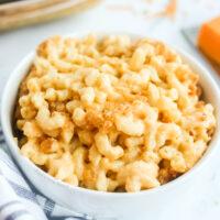 top side view of bowl of mac n cheese