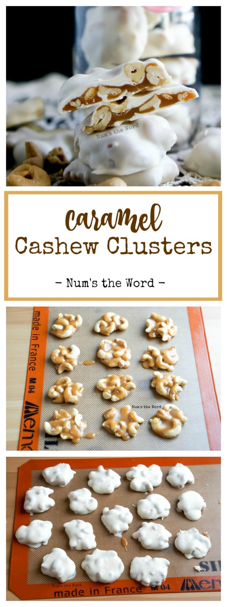 Caramel Cashew Clusters make the perfect gift for any cashew lover! Chewy homemade caramel, salted cashews and white chocolate create a gourmet treat that you can make at home!