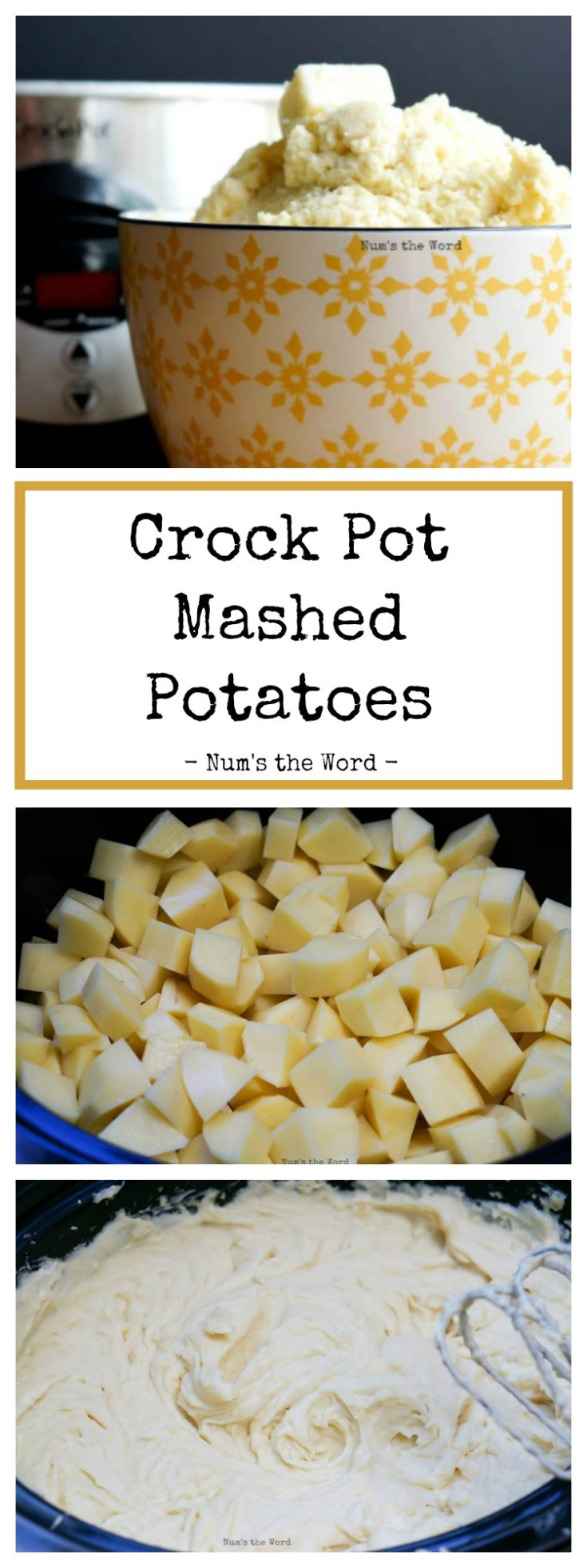 These Crock Pot Mashed Potatoes make cooking for a crowd easy!  From start to finish these potatoes are cooked, mashed and blended in the crock pot!  Perfect for Thanksgiving, Christmas or Easter dinner!