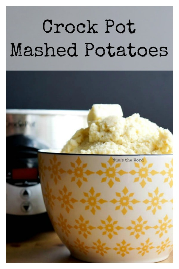 Crock Pot Mashed Potatoes - Main image for recipe of mashed potatoes in a bowl with crock pot in background