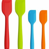 Besteek 4 Pack Silicone Rubber Spatula, Kitchen Baking Spoon Spatula Set, Non-stick Heat Resistant Spatula - Ergonomic Easy-to-Clean Seamless One-Piece Design Cooking Gadget