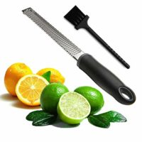 Joyoldelf Multipurpose Cheese Grater & Lemon Zester - Stainless Steel Kitchen Tool with Free Cleaning Brush-Easy To Grate Or Zest Lemon, Orange, Citrus, Cheese, Nuts