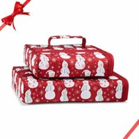 "Festive, Holiday Casserole Carrier Set by Fit & Fresh, Set of Two Insulated Carriers for 9"" X 9"" and 9"" X 13"" Baking Dishes, Scarlet Snowman Dance"