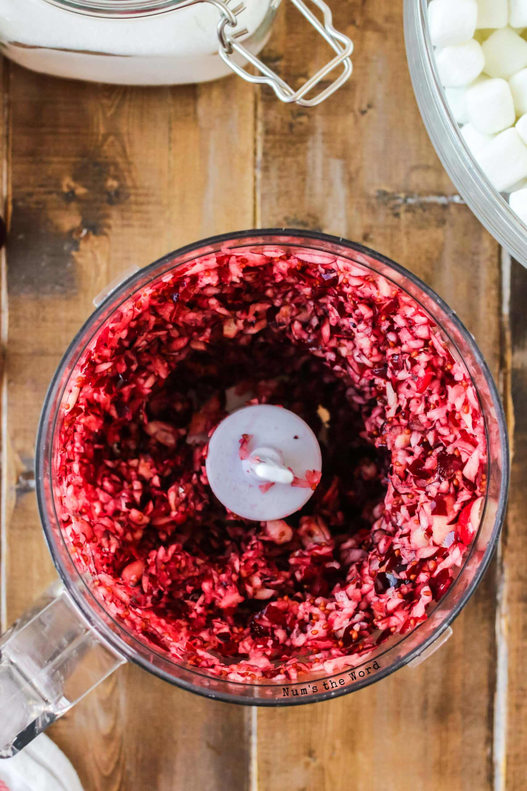 fresh cranberries ground up in food processor