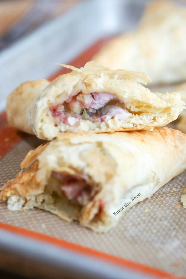 Leftover Thanksgiving Turnovers - turnover cut open to show yummy insides