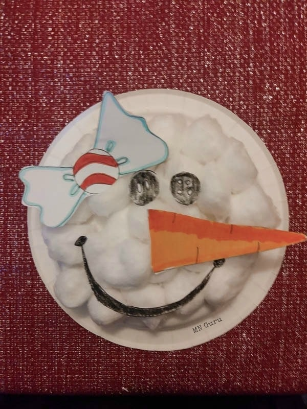 Paper Plate Snowman Craft - finished craft with bow