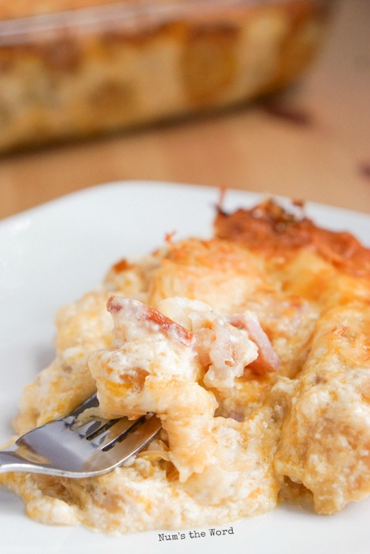 Ham & Tater Tot Breakfast Casserole - serving on a plate with a fork digging into it.