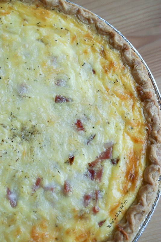 Ham & Cheese Quiche - fresh baked quiche fresh out of oven.