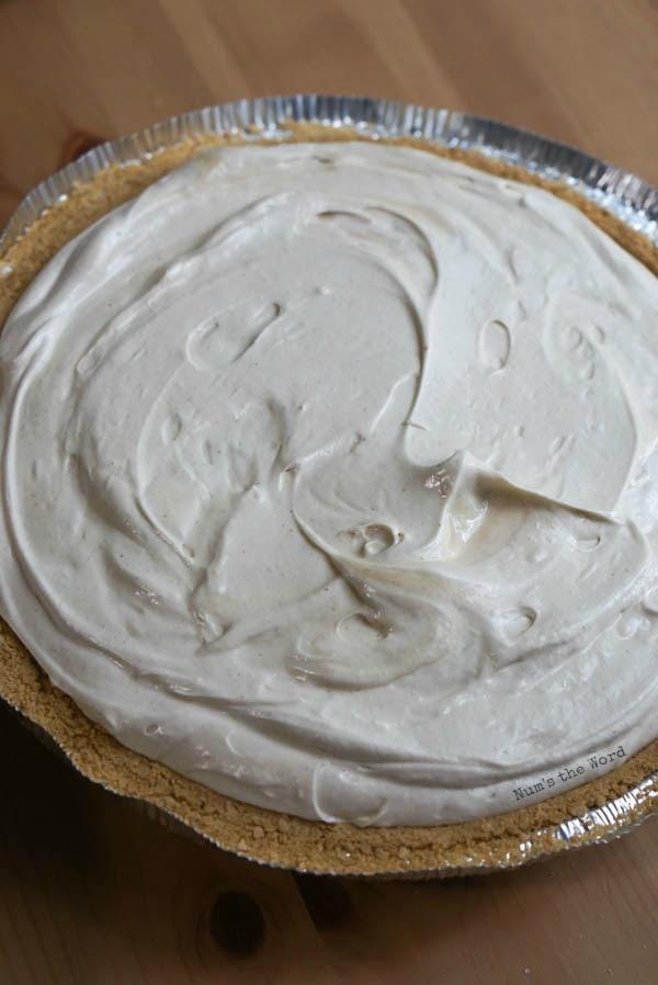 No Bake Peanut Butter Pie - peanut butter mixture in a graham cracker pie crust.