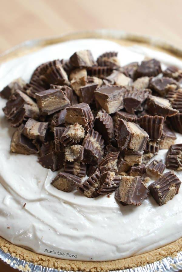 No Bake Peanut Butter Pie - Cut up peanut butter cups on top of pie.