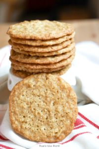 Chewy Oatmeal Lace Cookies - Cookies stacked on top of each other