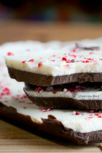 Homemade Peppermint Bark - large pieces of peppermint bark stacked on top of each other.