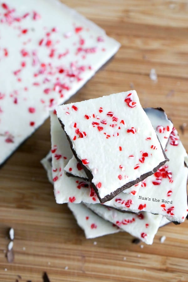 Homemade Peppermint Bark - top view of peppermint bark stacked on top of each other.