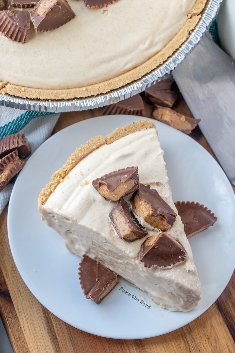 Peanut Butter Pie Recipe - slice of pie top view