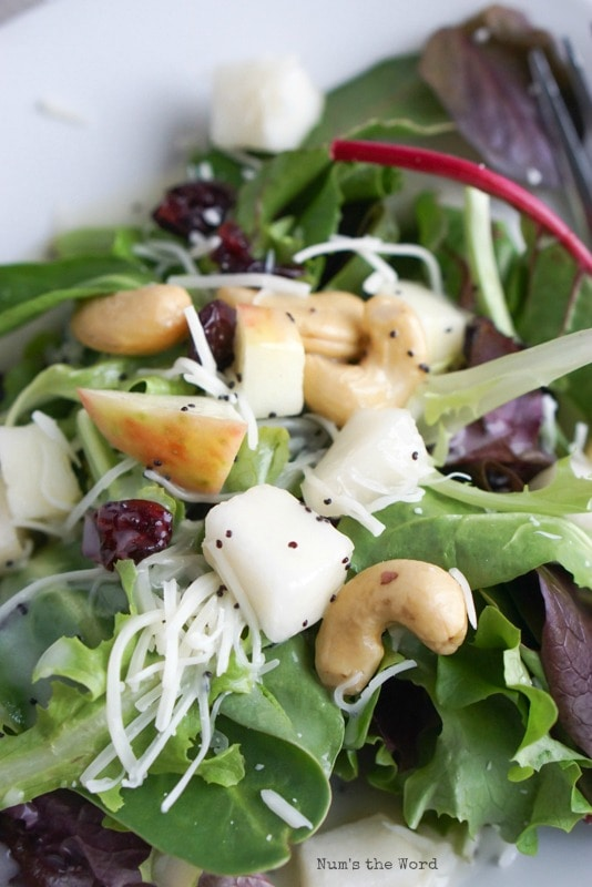 Winter Fruit & Cashew Salad - zoomed in image of salad on plate with dressing on it.