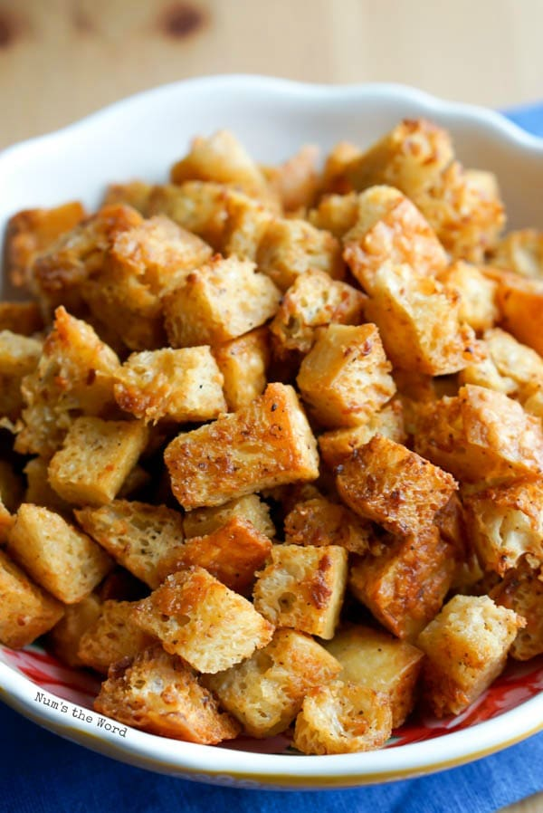 Cooked Seasoned Creole Croutons in a bowl ready to be used