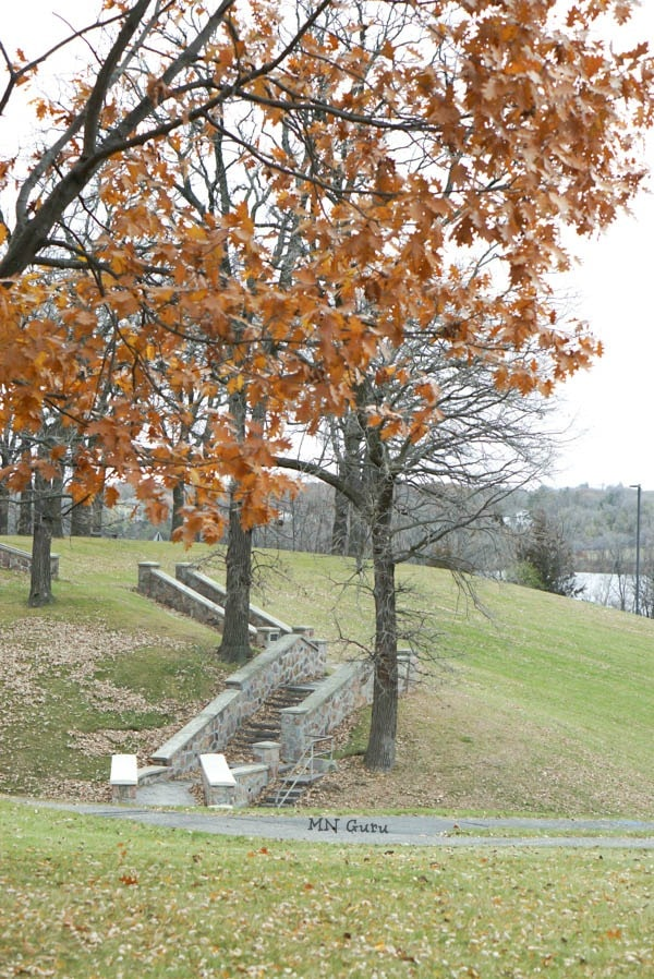 Hester Park - A view of granite stairway along the park