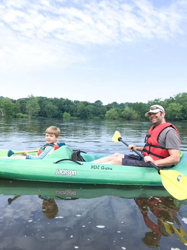 kayaking the Mississippi river in a tandem kayak