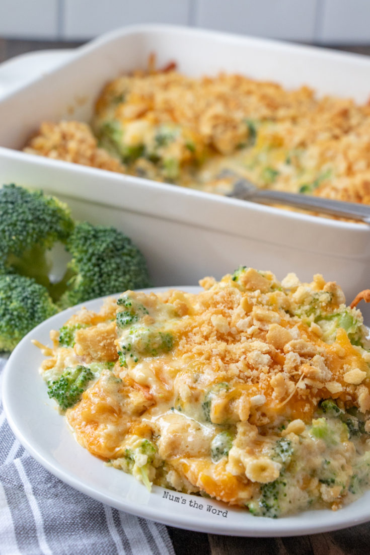 Easy Broccoli Casserole - large helping on plate ready to be eaten